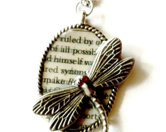 Dragonfly necklace silver ruby eyes  Handmade Gift