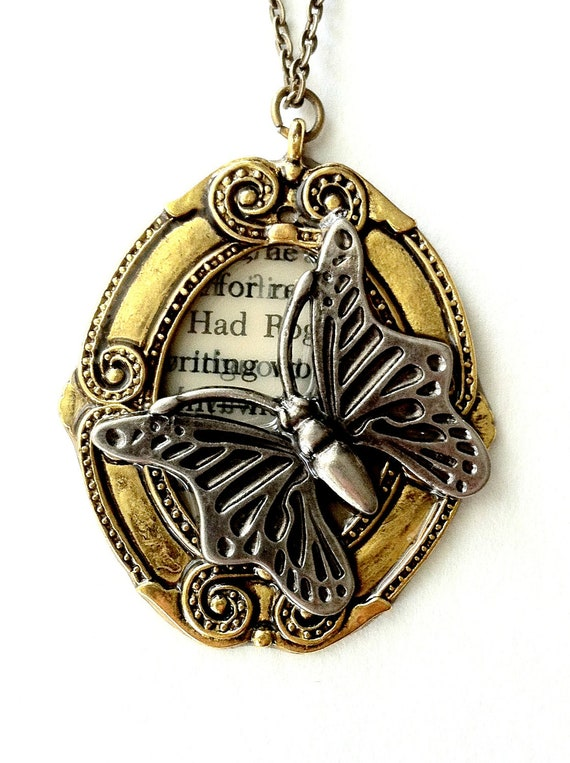 Steampunk butterfly necklace Victorian butterfly necklace Handmade Gift