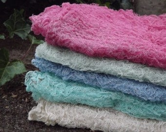Set of 5 Cheesecloth baby wraps, photography prop
