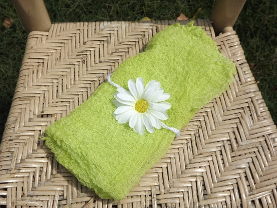 Cheesecloth green baby wrap and headband, photography prop