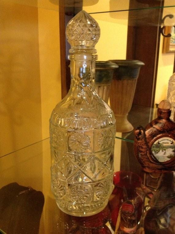 Vintage Bottle Decorative Pressed Glass