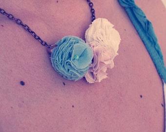 Sweet fabric Flower Necklace Choker.