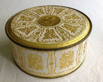 "Ornate Vintage GUILDCRAFT Round ""S"" Tin with Lid"