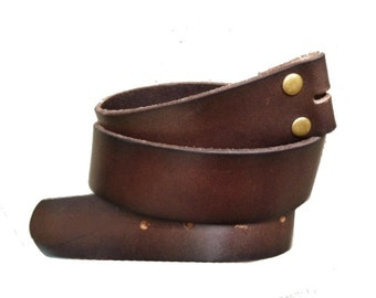 Dark Brown Leather Snap Belt Strap Men's 38 women's L