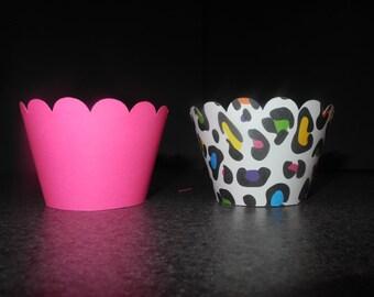 Rainbow Bright Cheetah Cupcake Wrappers- Set of 12    Zebra Hot Pink Leopard