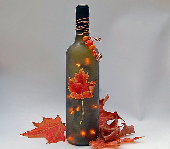 wine bottle lamp, orange leaf, Thanksgiving, orange, green