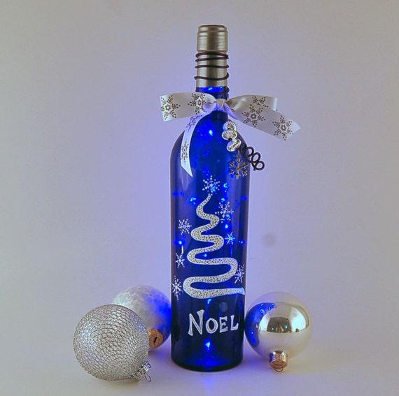 Wine Bottle Light Blue Bottle Noel Blue And White Hand
