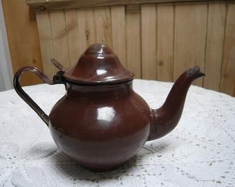 Brown enamel infusion or tea pot or coffee pot enamel metal iron 1940