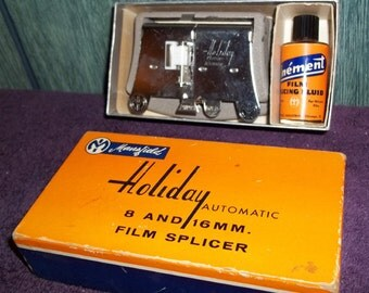 Mansfield Holiday Automatic Film Splicer with Original Box & Fluid
