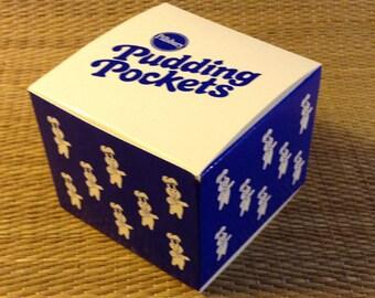 12 Pillsbury Pudding Pockets Gift Boxes Poppin' Fresh Dough Boy Pattern, blue and white