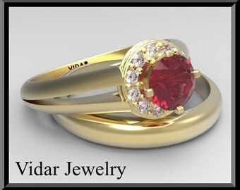 Red Ruby And Diamond Wedding Ring Set 14k White/Yellow Gold.Engagement Ring set.halo,luxury,custom,unique Wedding Ring Set,Halo Ruby Rings