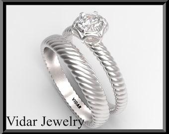14k White Gold Round Diamond Wedding Ring Set.Engagement Ring Set. Bridal Wedding Band.unique