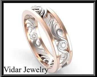 Diamond  Wedding band.Diamond wedding ring,Rose gold wedding band,unique wedding band,designed,Luxury.Engagment ring,two tone.