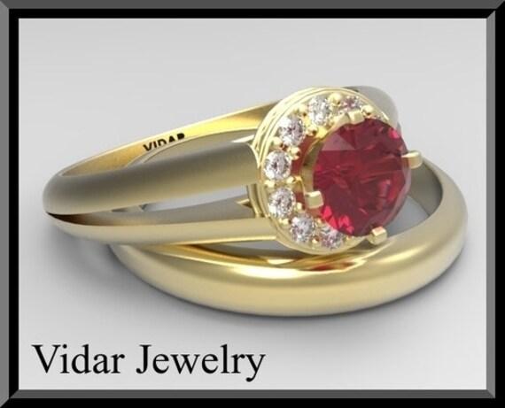 Red Ruby And Diamond Wedding Ring Set 14k White Yellow