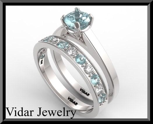 Blue Aquamarine And Diamond Wedding Ring Setblue Engagement