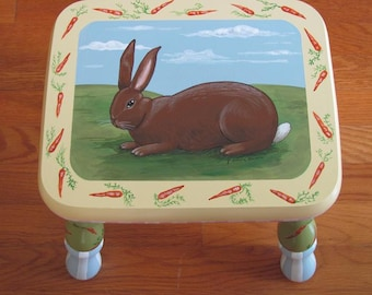 Hand Painted Bunny Rabbit Step Stool