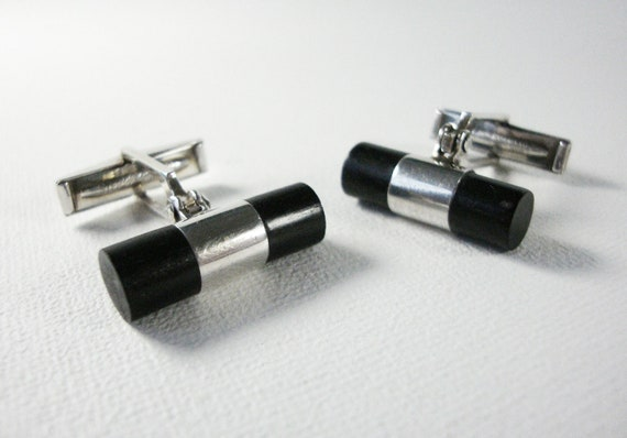 Vintage Modern Cylindrical Sterling Silver and Black Onyx Cufflinks