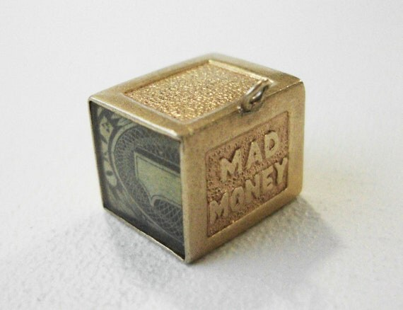 Vintage 14K Gold Charm Mad Money With A Folded Dollar Bill Inside