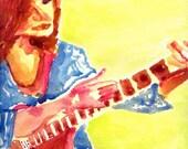 Watercolor Painting Guitar Player 10x10 Original
