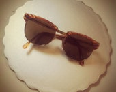 Sunglasses Faux Tortoise Shell brown lens 70s 80s style