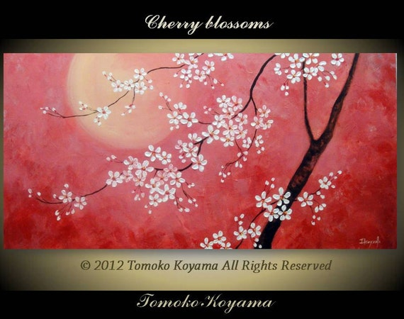 "CUSTOM ORDER Original Modern Art  Painting on Gallery wrapped Canvas 48"" x 24"", Home Decor, Wall Art ---Cherry Blossoms---"