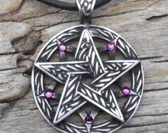 Pewter Double Pentagram Celtic Pagan Pentacle Pendant with Swarovski Crystal Purple Amethyst FEBRUARY Birthstone (56I)