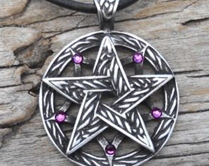 Featured listing image: Pewter Double Pentagram Celtic Pagan Pentacle Pendant with Swarovski Crystal Purple Amethyst FEBRUARY Birthstone (56I)