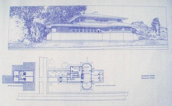 Frank Lloyd Wright Henderson House Blueprint By Blueprintplace