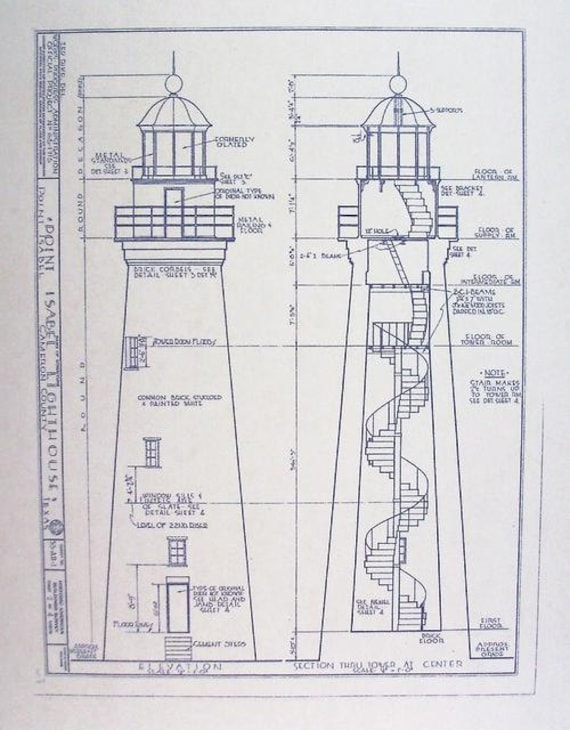 Point isabel lighthouse blueprint by blueprintplace on etsy for How to make a blueprint of a house