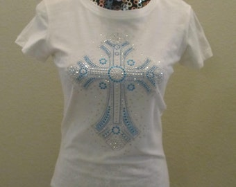 White Stylized Cross T-Shirt