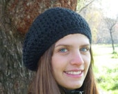 Slouchy beanie hat - Black - crochet - womens Winter Autumn accessories wool woolen