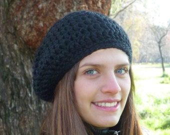 Slouchy beanie hat - Black - crochet - womens Winter Autumn accessories wool woolen