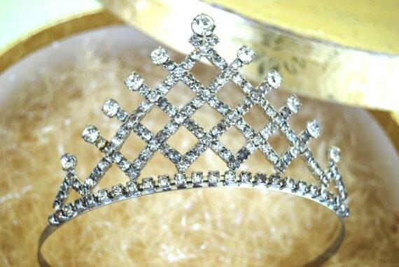 RESERVED for pimpy Vintage 1950's Tiara Crown Rhinestones - Wedding Accessory