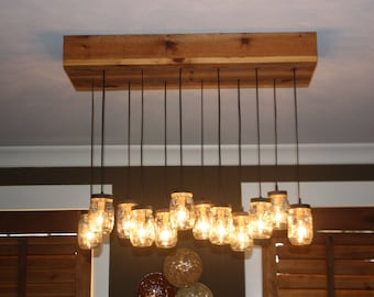 Mason Jar Chandelier with Cedar Base