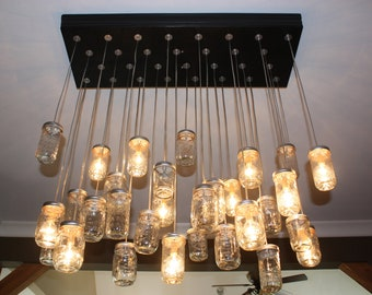 """The """"Ashley"""" - Custom Industrial Chic Mason Jar Chandelier On sale!!!!! Price reduced 200 for limited time"""