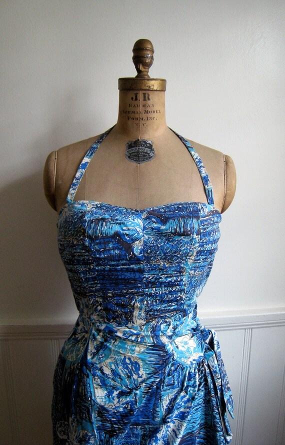 Amazing 1950s Kamehameha Hawaiian Tiki Print Sarong Dress with Halter Strap