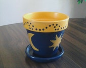 Moon and Stars Painted Clay Pot
