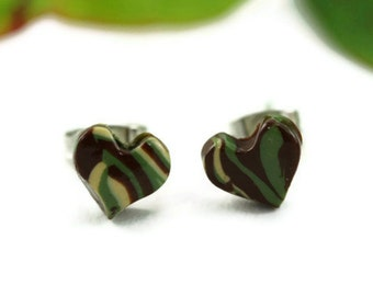 Camouflage Earrings Camo Post Stud Military Army Strong Marine Tiny Heart Hunting Urban Jungle Camoflage Air Combat Hunter Armed Forces USMC