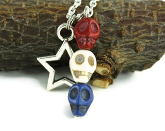 Red White Blue Skull Necklace, Patriotic Edgy Hippie Punk Rock USA United States of America 4th of July Independence Day Americana Bohippian