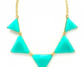 Turquoise and Gold Triangle Necklace