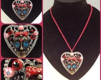 Rockabilly Pin Up Skull Necklace