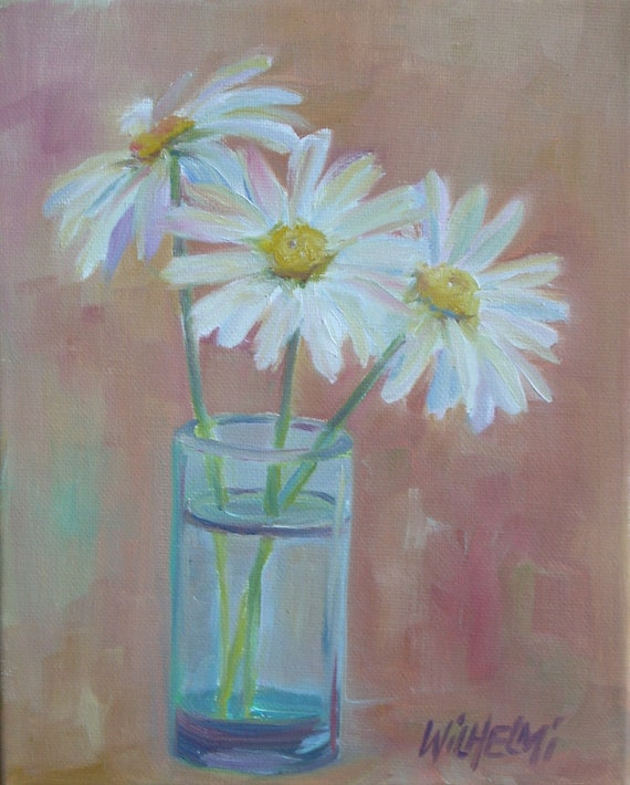 "Original oil, ""Daisies in blue glass"", white, yellow, blue, peach, still life painting, Shasta daisies"