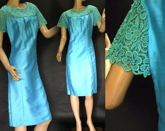 Vintage 1950s Dress Rockabilly Garden Party Mad Men Couture Pinup Bombshell Hourglass Femme Fatale Wiggle Shift Designer