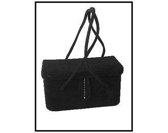 Vintage 1950s Purse //Handbag//Box Purse//Black //Mirror//Ultra Suede//