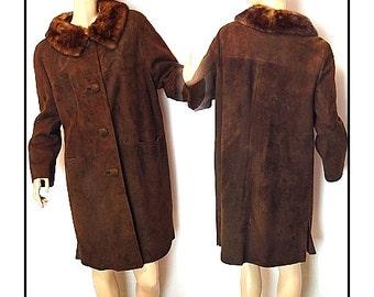 Vintage 1960s Coat Designer Suede Real Fur Mink Collar Tailored Jacket  Mad Man Garden Party Rockabilly Retro Femme Fatale Jackie Kennedy