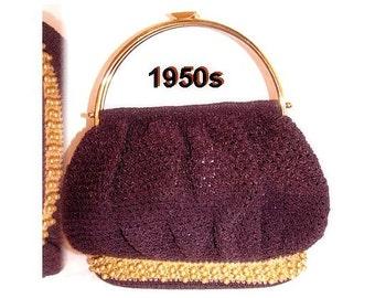 Vintage 1950s Purse Brown Crocheted Designer Handbag Mad Man Collectible Garden Party Rockabilly Retro Dress Designer VLV