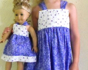 """Girls Sun dress, 18"""" doll dress, American Girl doll dress, summer dresses, girls cotton sun dress"""