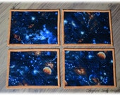 Items similar to fabric placemat set quilted place mats for Outer space fabric uk