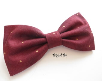 Burgundy Bow Tie, Burgundy With Tan Random Pin Dots in 100% Designer Cotton For Men/teen, Boys, Infant, Toddler or Girls