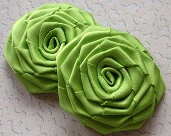 2 Handmade Ribbon Roses (2.5 inches) In Apple Green MY-003-168 Ready To Ship